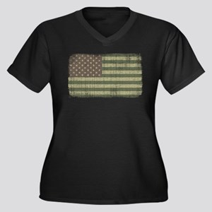 Camo American Flag [Vintage] Women's Plus Size V-N